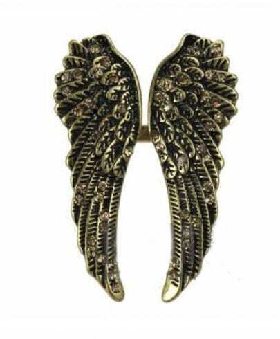Vintage Angel Wings Rhinestone Ring