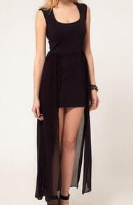 Black Scoop Neck Sheath Sleeveless High-low Dress