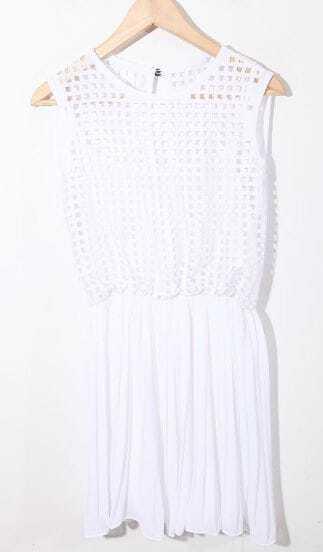 White Net Pleated Sleeveless Chiffon Dress with Hole Back