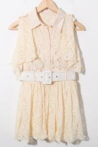 Nude Ruffle Sleeveless Lapel Lace Shirt Belt Dress