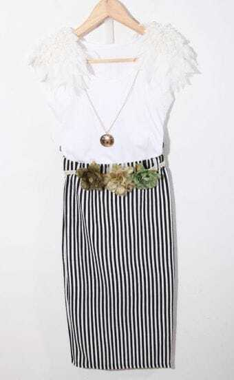 White Striped Flower Belt Ruffle Shoulder Dress