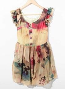 Camel Ruffle Sleeve Die Tie Floral Button Front Chiffon Dress