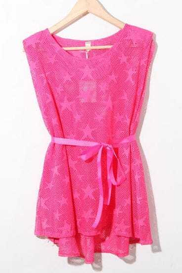 Pink Star Print Sleeveless Ribbon Waist Crochet Net Dress