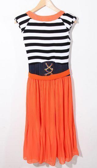 Orange Striped Sleeveless Round Neck Belt Chiffon Dress