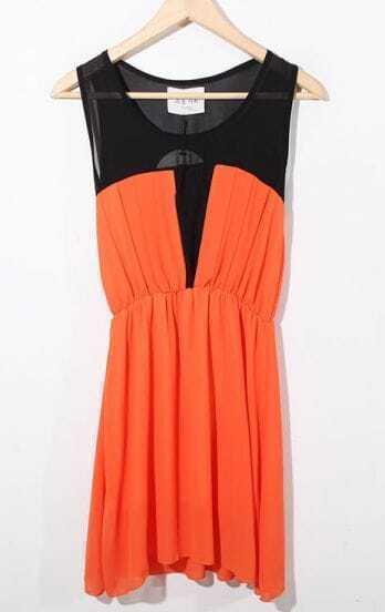 Orange Color Block Sleeveless Round Neck Chiffon Dress