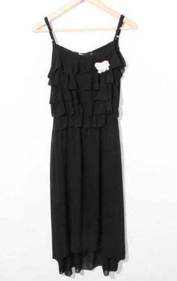 Black Ruffle High-low Spaghetti Strap Chiffon Dress