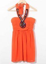 Orange Beaded Halter Top Strapless Chiffon Dress