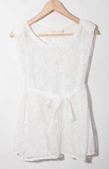 White Star Print Sleeveless Ribbon Waist Crochet Net Dress