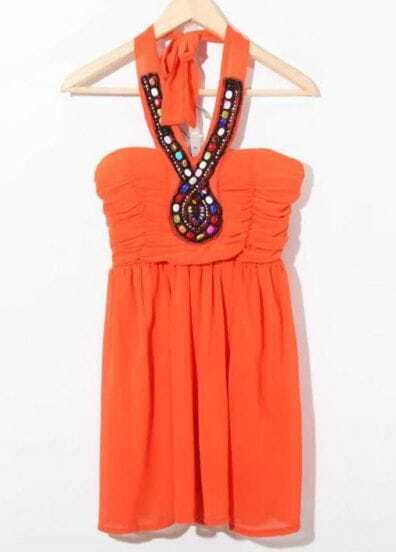 Orange Beaded Halter Top Strapless Chiffon Dress