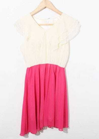 Pink Color Block Frill V Neck Chiffon Dress