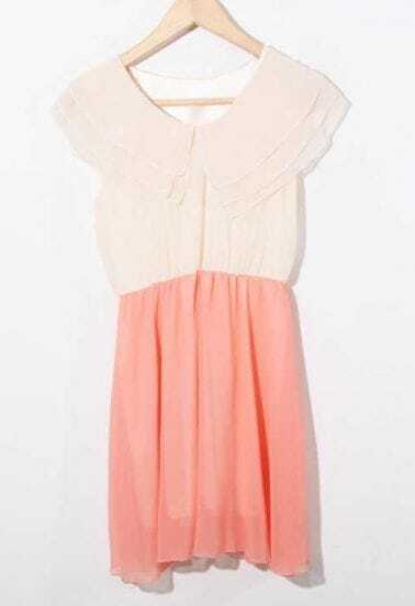 Peach Color Block Frill V Neck Chiffon Dress