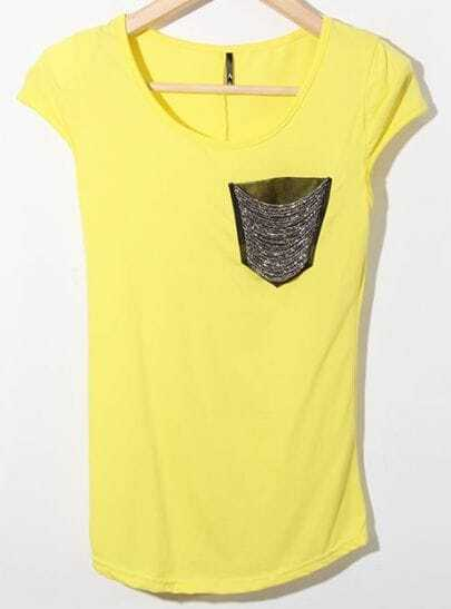 Yellow Cap Sleeve Cotton T-Shirt with Chain Beaded Pocket