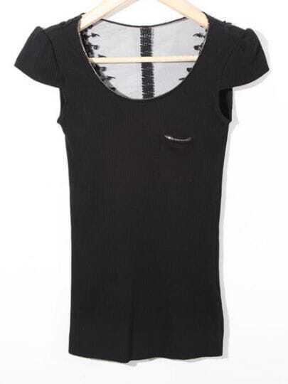 Black Round Neck Cap Sleeve Lace Back Cotton T-Shirt
