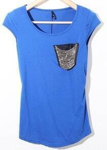 Royal Blue Cap Sleeve Cotton T-Shirt with Chain Beaded Pocket