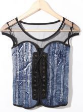 Denim Lace Up Bustier T-Shirt with Black Mesh Detail