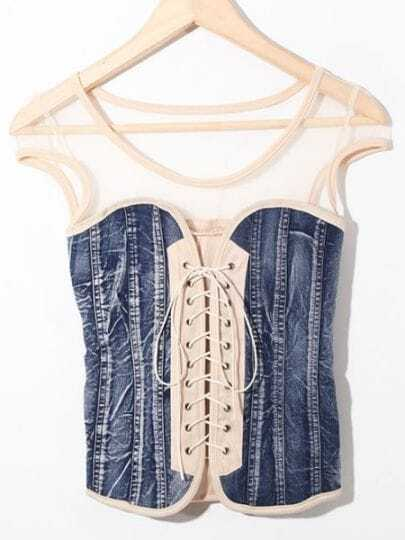 Beige Denim Lace Up Bustier T-Shirt with Mesh Detail