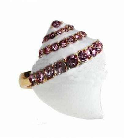 White Conch Rhinestone Ring