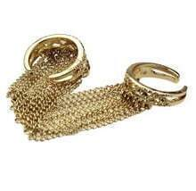 Gold-tone Chain Linked Cuff Ring
