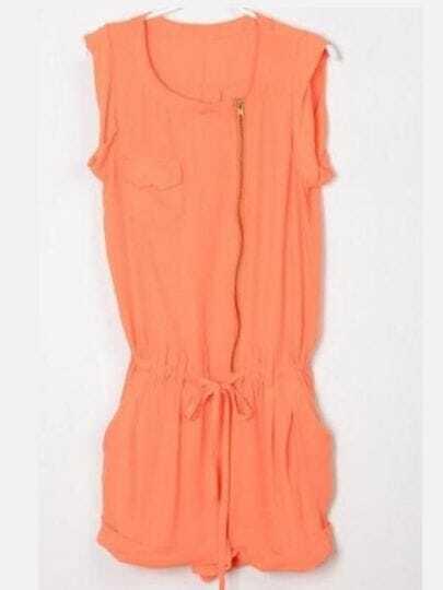 Orange Solid Street Bow Zipper Mid Waist Jumpsuit