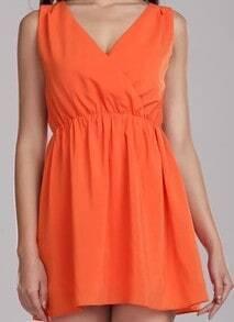 Orange Solid Street V Neck Sleeveless Chiffon Dress