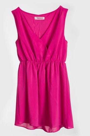 Rose Red Solid Street V Neck Sleeveless Chiffon Dress