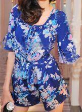 Blue Round Neck Half Sleeve Floral Chiffon Jumpsuit