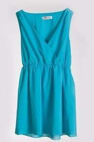 Blue Solid Street V Neck Sleeveless Chiffon Dress