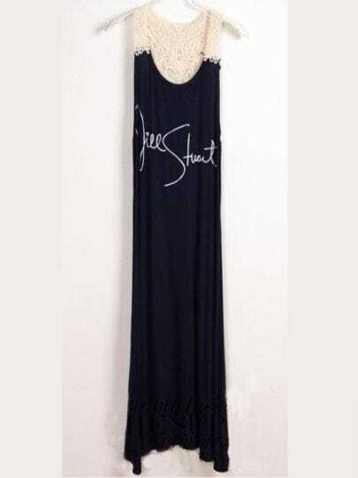 Navy Round Neck Sleeveless Letter Print Lace Mid Waist Cotton Dress