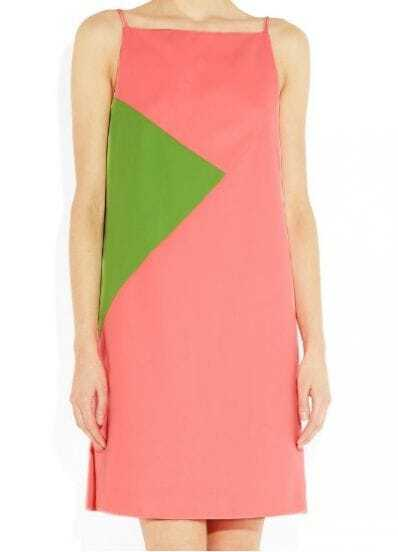 Red And Green Color Block Boat Neck Sleeveless Chiffon Dress