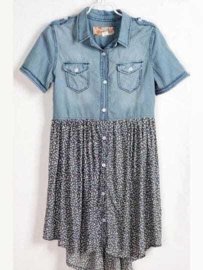 Blue Color Block Lapel Short Sleeve Single Breasted Chiffon Dress