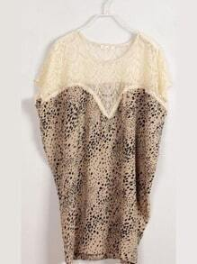 Beige Vintage Round Neck Short Sleeve Leopard Color Block Chiffon Dress