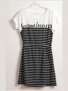 Black Round Neck Short Batwing Sleeve Striped Letter Print Cotton Dress