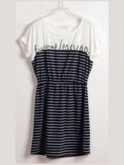 Navy Round Neck Short Batwing Sleeve Striped Letter Print Cotton Dress