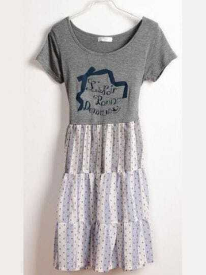 Grey Vintage Round Neck Short Sleeve Letter Print Color Block Dress