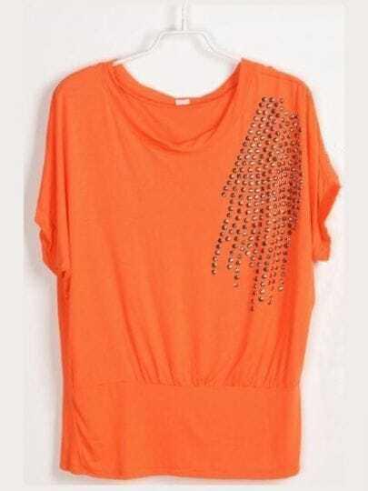 Orange Round Neck Short Batwing Sleeve Studded T-Shirt