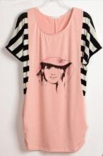 Trend Avatar Printed Striped Short Sleeve Batwing Pink T Shirt