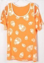 Skull Printed Split Sleeve Batwing Crew Neck T Shirt Orange