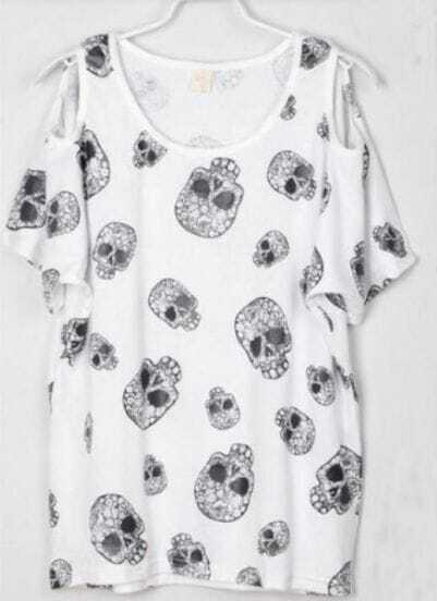 Skull Printed Split Sleeve Batwing Crew Neck T Shirt White