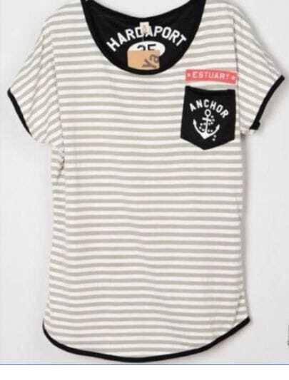 GreyCottonStripedAnchorPrintInPocketT-Shirt