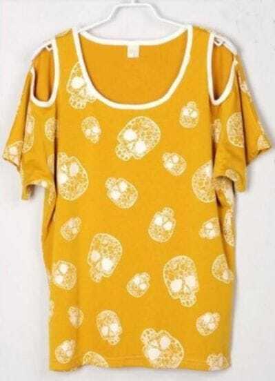 Skull Printed Split Sleeve Batwing Crew Neck T Shirt Yellow