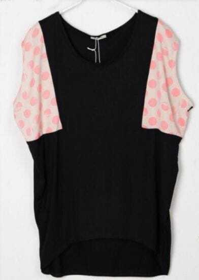 Polka Dot Printed Pink and Black Batwing T-Shirt