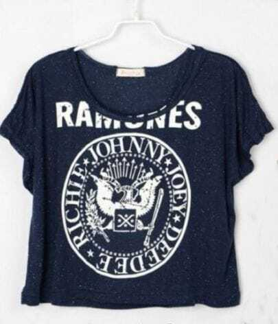 Navy Letters Printed Crop Batwing T Shirt