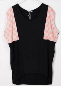 Polka Dot Printed Pink and Black Batwing T-Shirt
