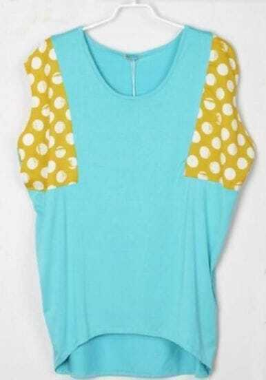 Polka Dot Printed Yellow and Grenn Batwing T-Shirt