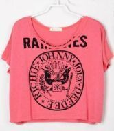 Red Letters Printed Crop Batwing T Shirt