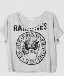 Light Grey Letters Printed Crop Batwing T Shirt