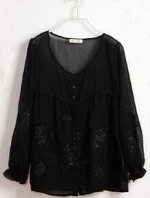 Black Embroidery Pattern Long Sleeve Chiffon Blouse
