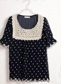 Navy Lace Crochet Embroidery Trims Starfish Print Chiffon Blouse