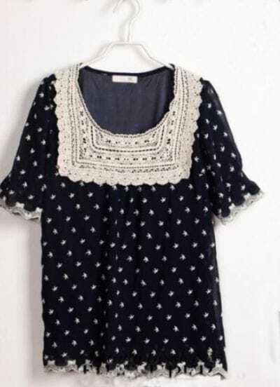 Navy Lace Crochet Embroidery Trims Starfish Print Chiffon Blouse
