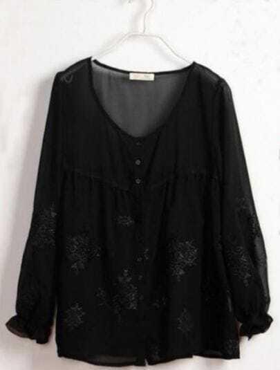 Black Embroidery Pattern Long Sleeve Chiffon Blouse